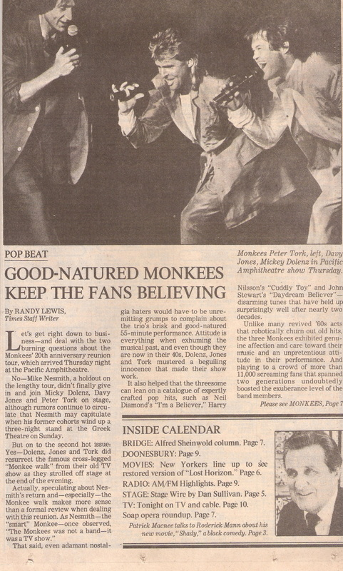 Monkees Pacific Amphitheatre 1986