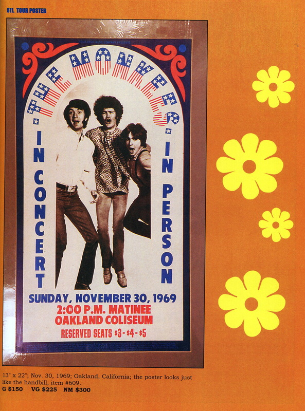 Monkees 1969 tour poster Oakland