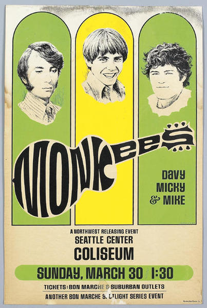 Monkees 1969 Seattle poster