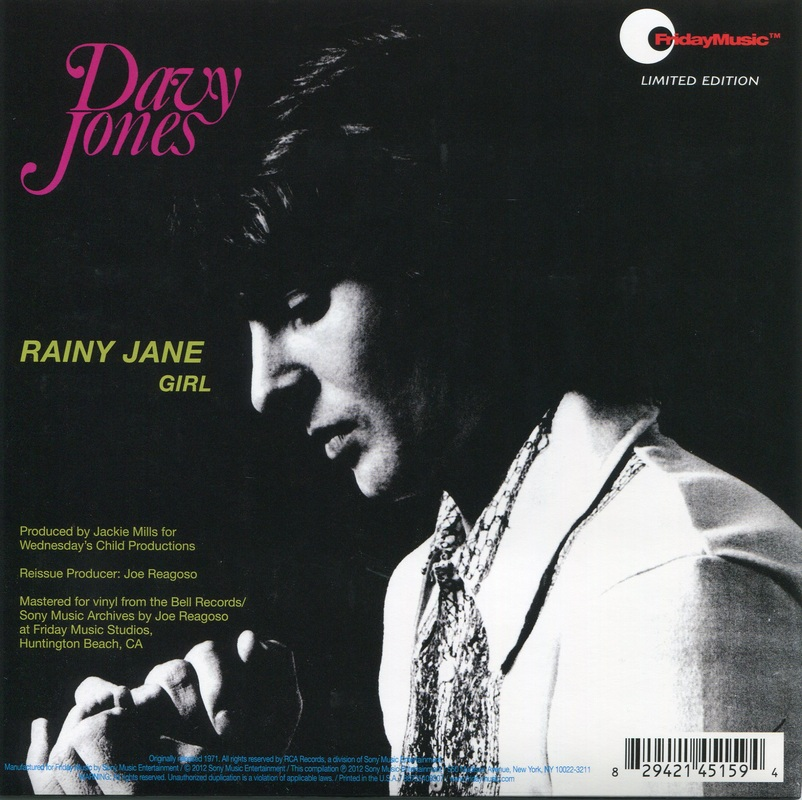 Davy Jones Rainy Jane picture sleeve