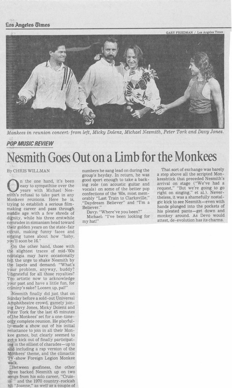Monkees 1989 concert review