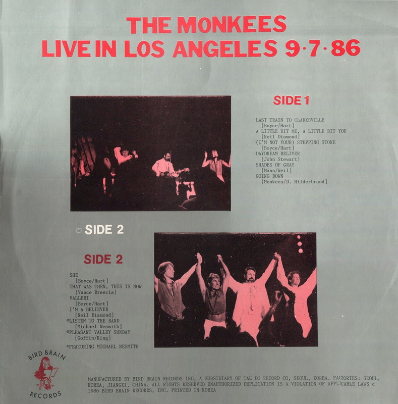Live in Los Angeles Monkees bootleg cover