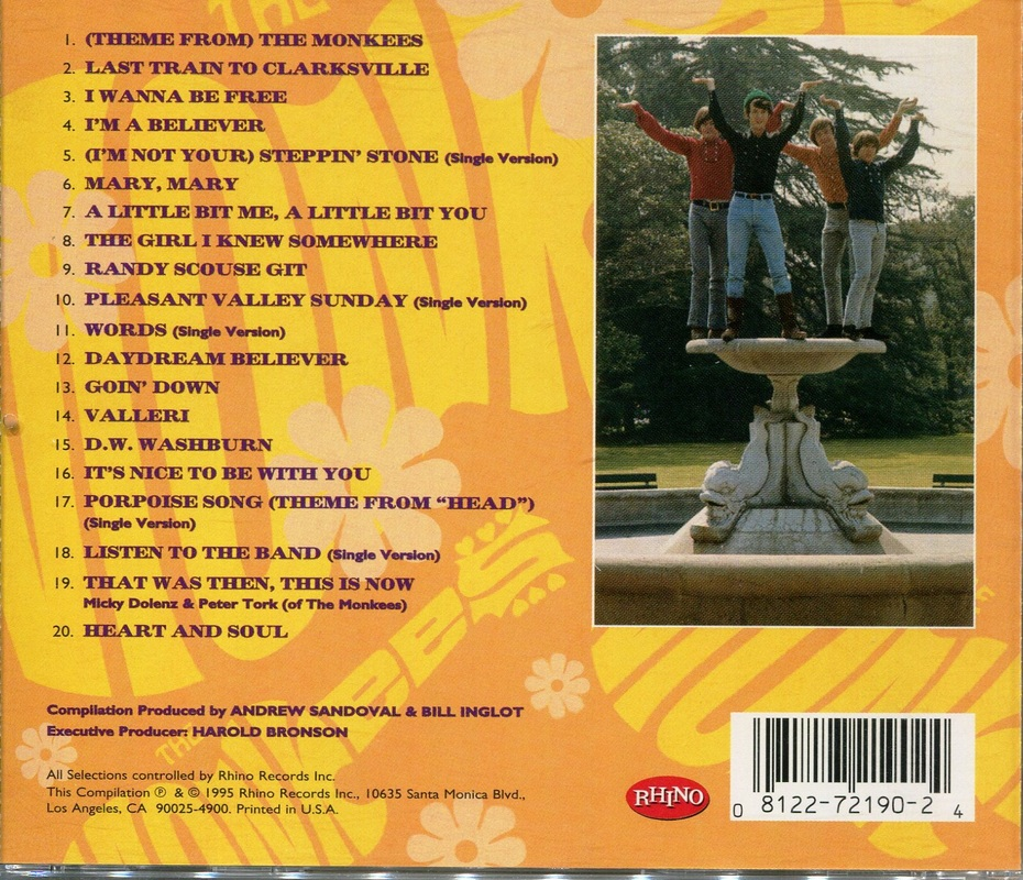 Monkees Greatest Hits CD back cover