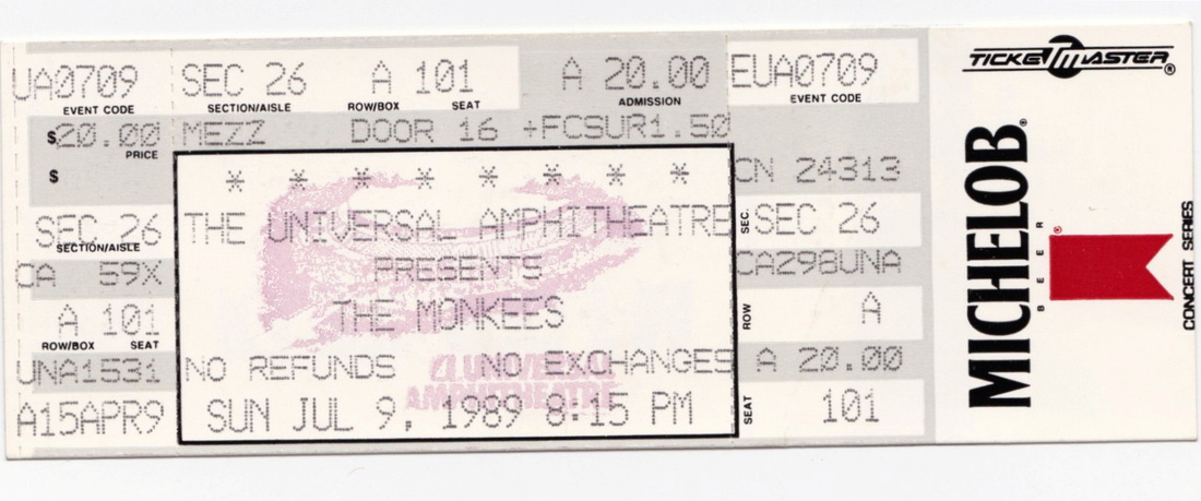 Monkees Universal Amphitheatre ticket