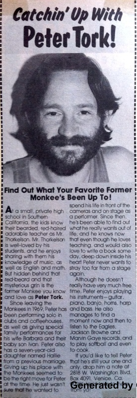 1977 Monkees Peter Tork