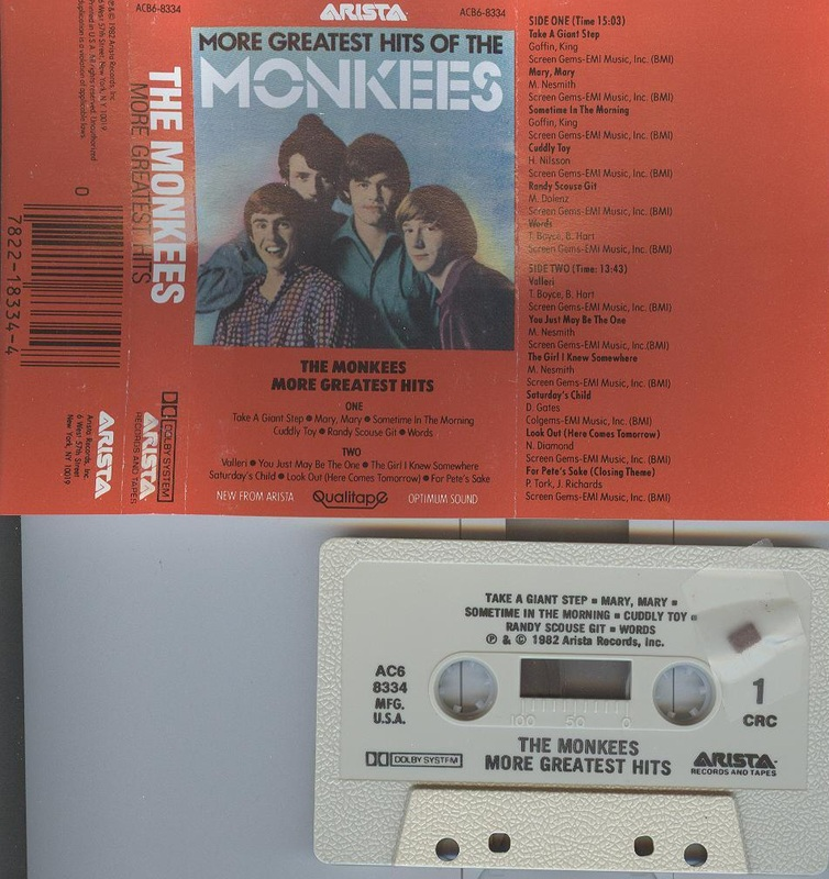 More Greatest Hits of The Monkees cassette