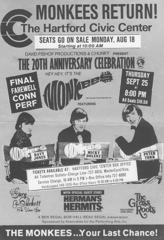 Monkees Hartford Civic Center Connecticut 1986