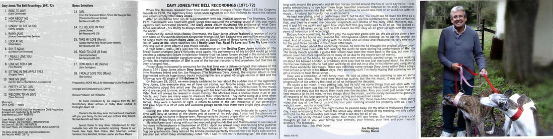 Davy Jones Bell album CD liner notes