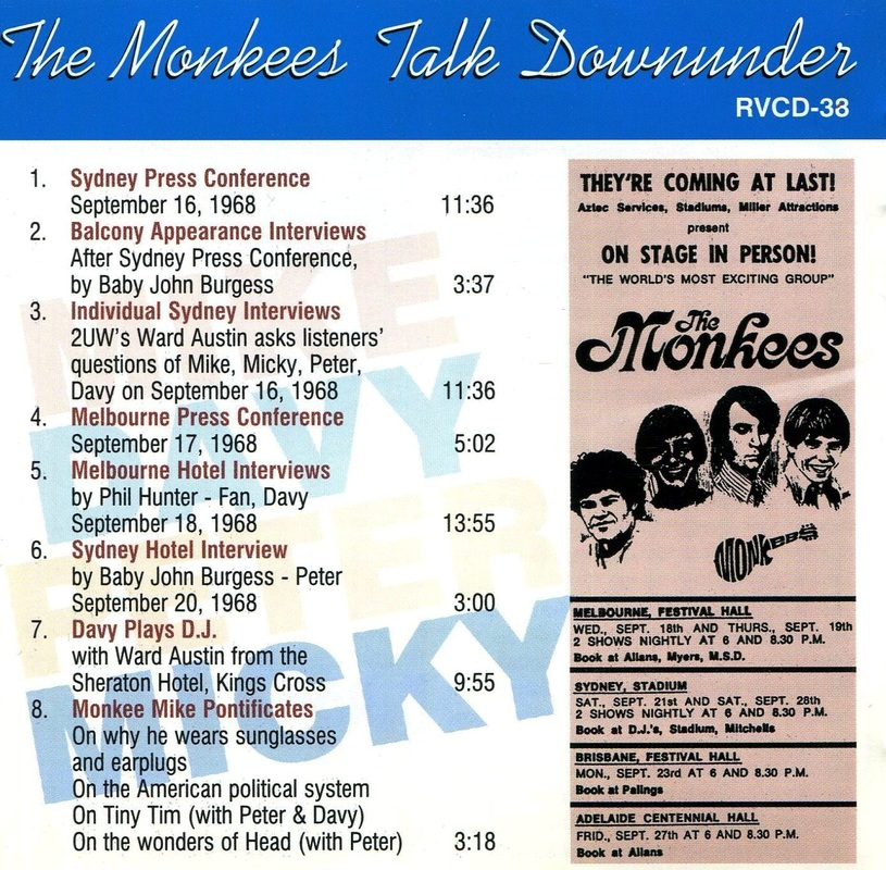 Monkees Talk Downunder CD track list