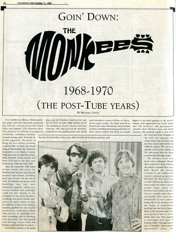 Monkees Post Tube Years