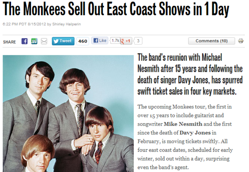 Monkees sold out tour 2012