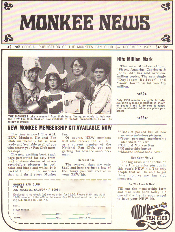 Monkees fan club news