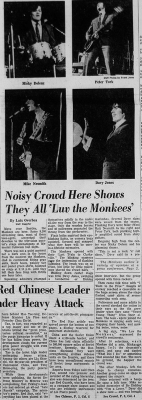 Monkees Winston Salem North Carolina 1966