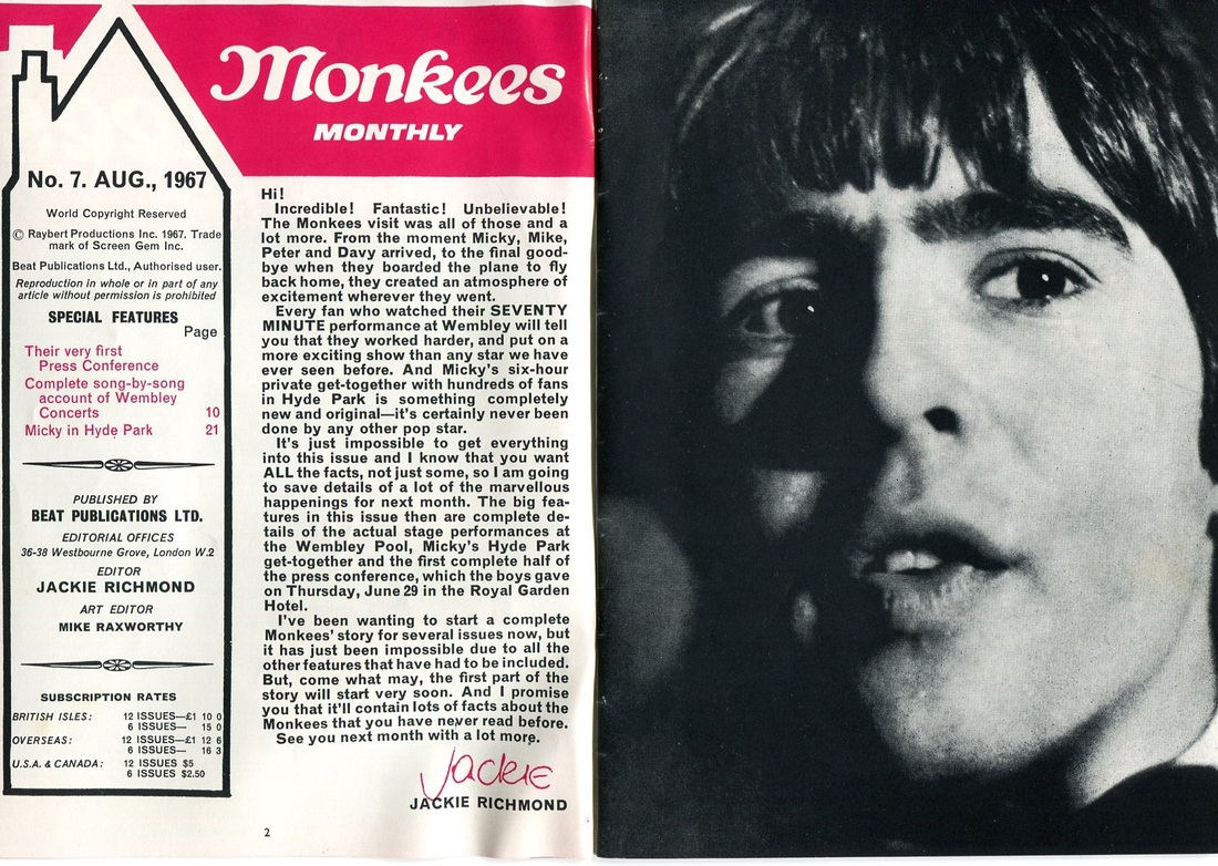 Monkees Monthly August 1967