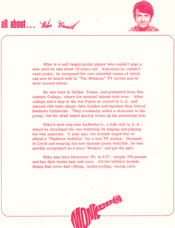 Monkees fan club letter Michael Nesmith