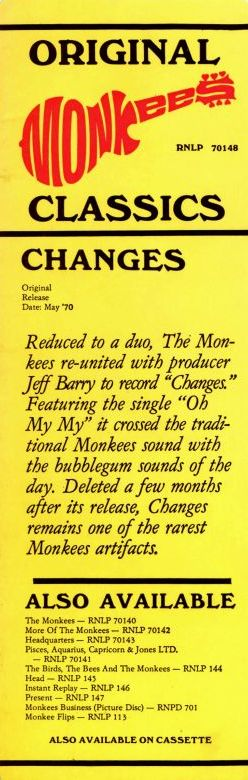 Monkees Changes 1986 Rhino LP sticker