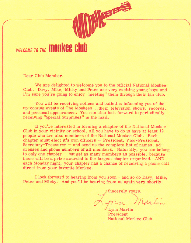 Monkees fan club letter