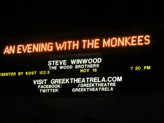 2012 Monkees tour Greek marquee