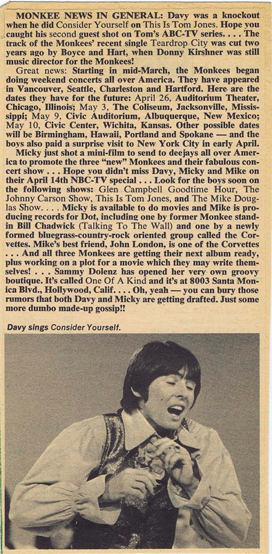Monkees 1969 magazine clipping