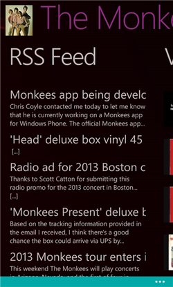 Monkees Windows Phone app