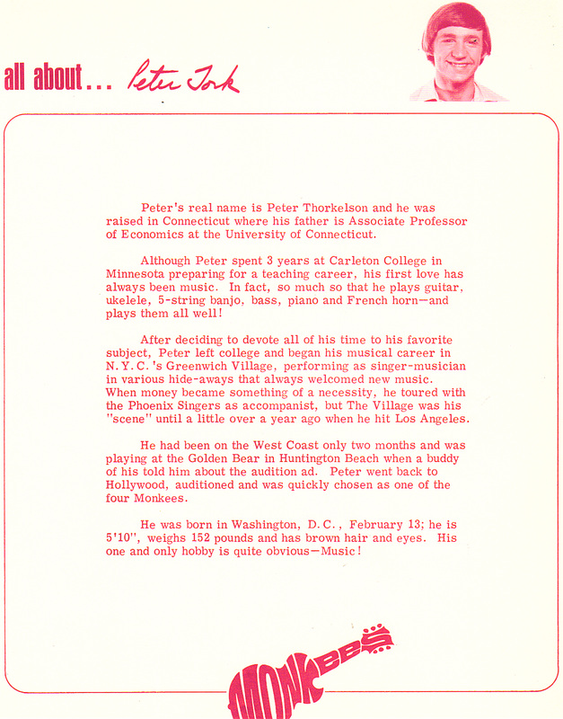 Monkees fan club letter Peter