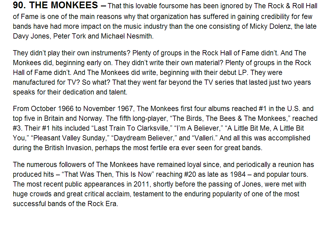 Monkees Goldmine Hall of Fame