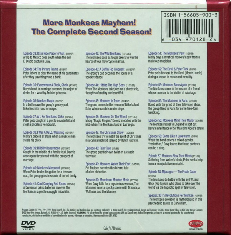 Monkees Season 2 box back cover