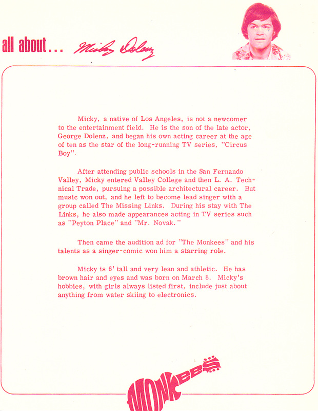 Monkees fan club letter Micky