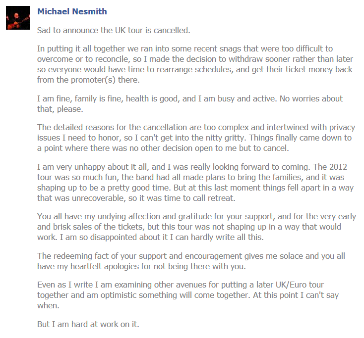 MIchael Nesmith UK tour cancellation