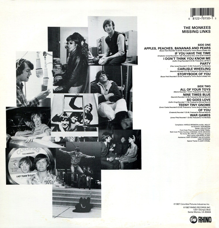 Monkees Missing Links album back cover