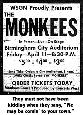 Monkees 1969 tour Birmingham