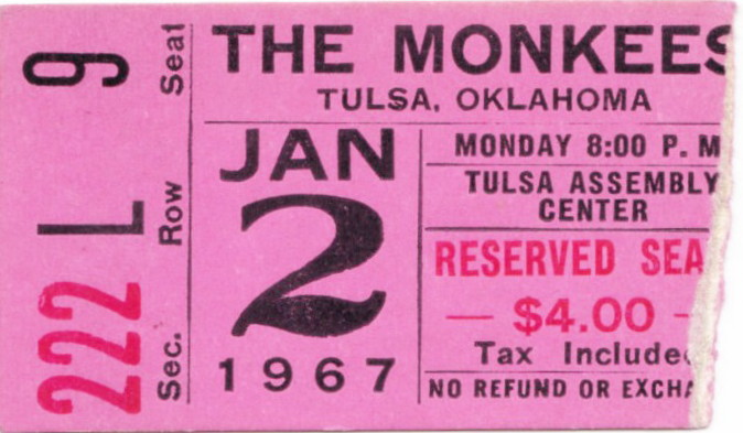 Monkees ticket stub 1967