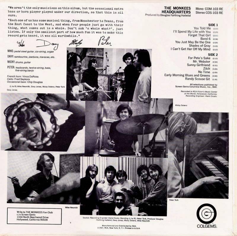 Monkees Headquarters back cover