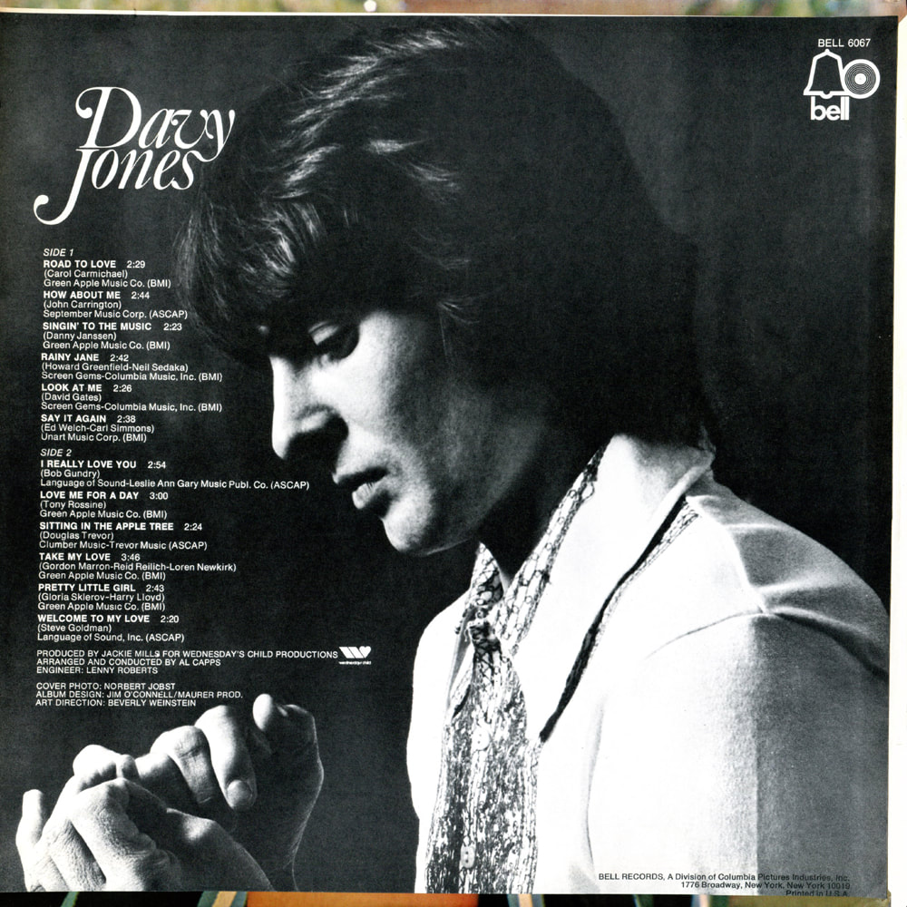 Davy Jones album Bell Records back cover