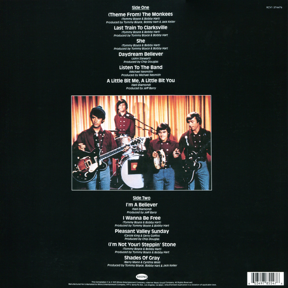 Monkees Greatest Hits album back cover