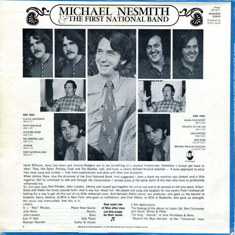 Michael Nesmith Magnetic South back cover