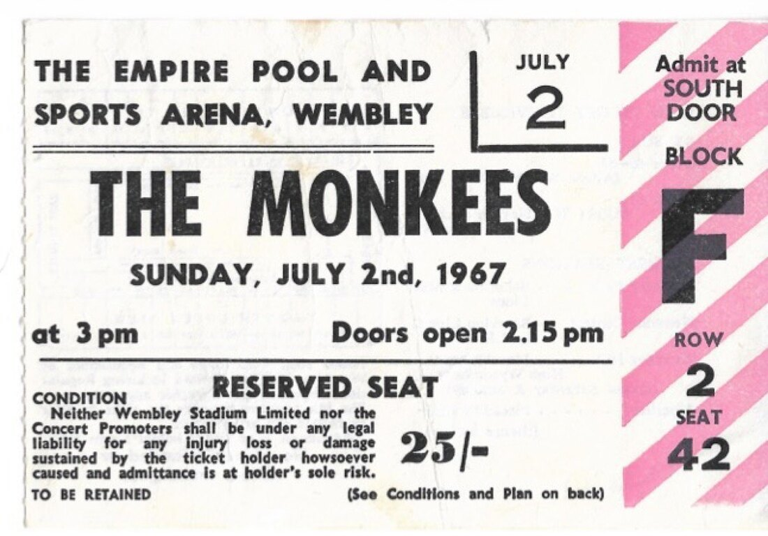 Monkees Wembley Empire Pool ticket 1967