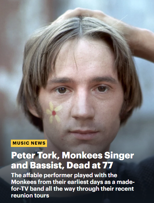Rolling Stone Peter Tork death