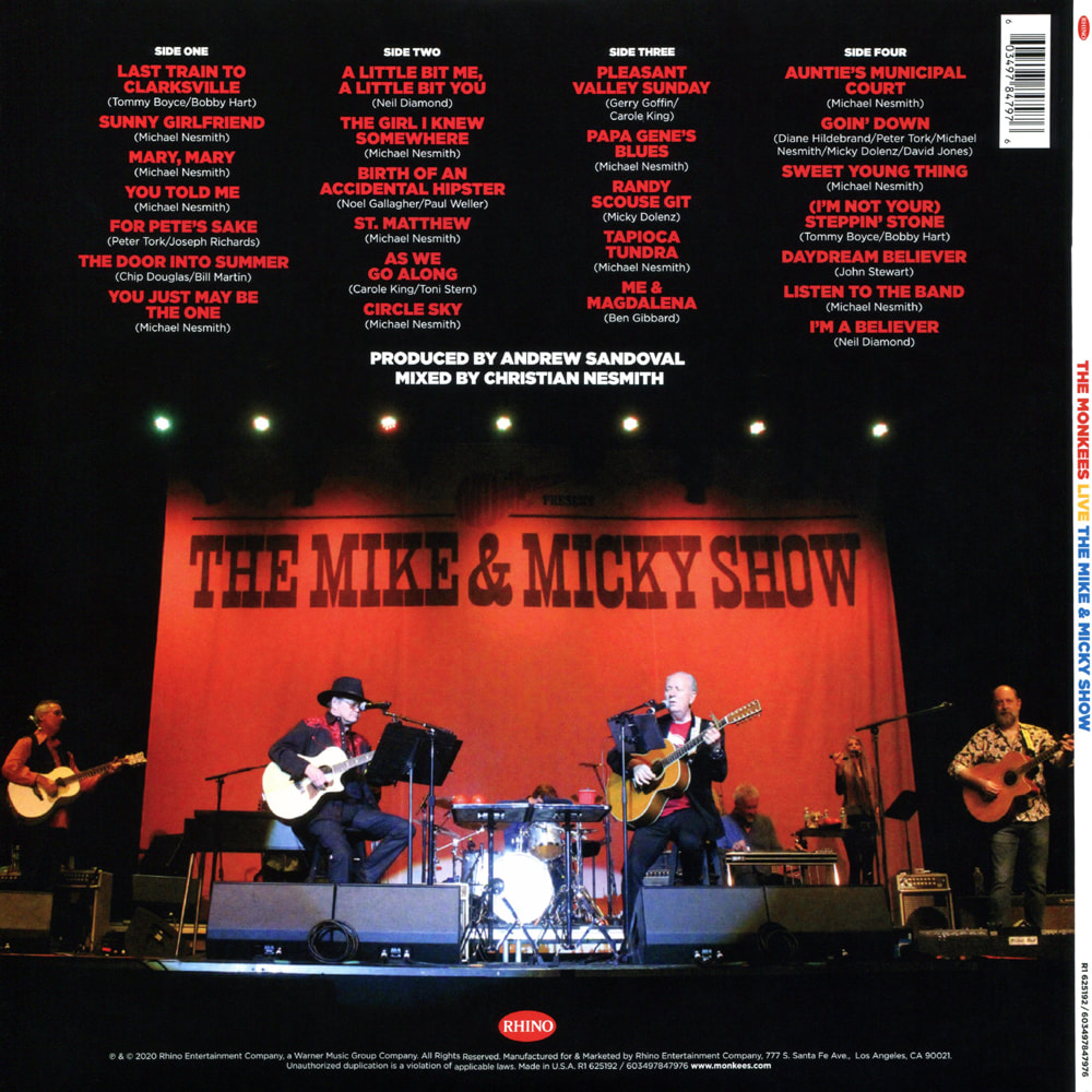 Mike & Micky Show Monkees Live vinyl LP back cover
