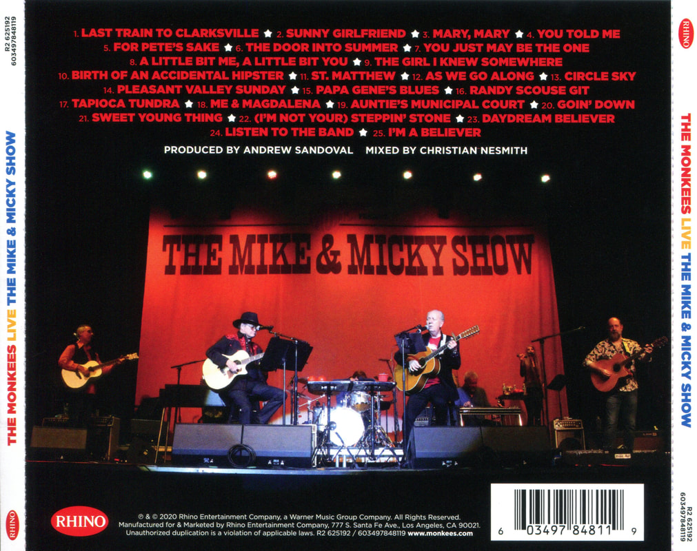 Monkees Mike & Micky Show Live rear back CD cover