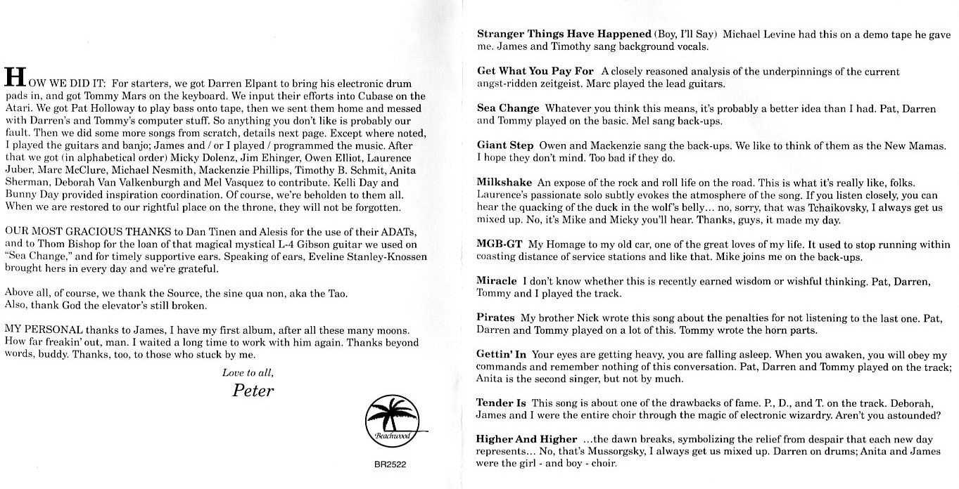 Peter Tork Stranger Things Have Happened liner notes